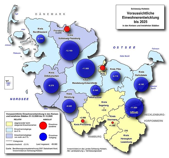 Voraussichtliche Einwohnerentwicklung in Schleswig-Holstein bis 2025